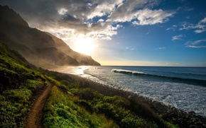Картинка waves, grass, sky, photography, Pacific Ocean, sea, ocean, landscape, coast, nature, mountains, clouds, rocks, path