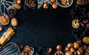 Картинка украшения, Новый Год, Рождество, орехи, happy, Christmas, шишки, New Year, Merry Christmas, Xmas, специи, decoration, …