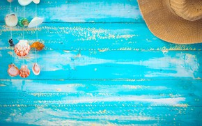 Картинка песок, пляж, фон, доски, шляпа, ракушки, summer, beach, wood, sand, marine, seashells