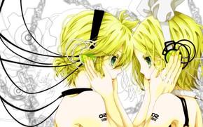 Картинка девушка, романтика, наушники, парень, двое, Vocaloid, Вокалоид, Кагомине Лен, Кагомине Рин