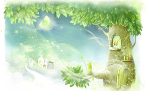 Картинка дерево, волшебство, арт, домик, десткая