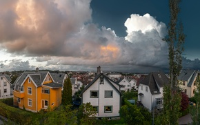 Картинка облака, дома, вечер, Норвегия, панорама, улицы, Rogaland, Stavanger