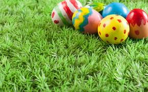 Картинка яйца, Пасха, травка, Праздник