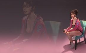 Обои грудь, взгляд, волосы, Девушка, кресло, фигура, очки, Girl, ножки, джостик, legs, boobs, gamer, figure, chair, ...