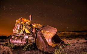 Картинка ночь, природа, трактор