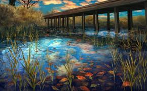 Картинка осень, листья, озеро