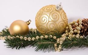 Картинка золото, праздник, игрушки, Новый год, бусы, украшение, декор, ветка ели