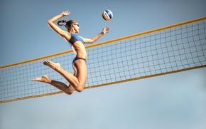 Картинка сетка, прыжок, мяч, спортсменка, волейбол