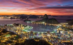 Картинка огни, панорама, Бразилия, вид сверху, Рио-де-Жанейро, Rio de Janeiro