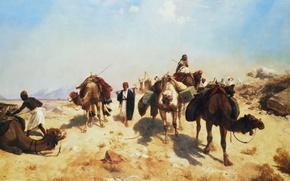Обои Караван в Пустыне, пейзаж, картина, Жан-Леон Жером, верблюд
