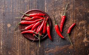 Обои Красный, Доски, Овощи, Перец, Еда, Чили, Продукты, Острый