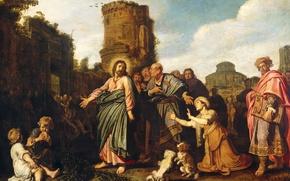 Картинка дерево, масло, картина, мифология, Питер Ластман, Христос и Женщина Ханаана