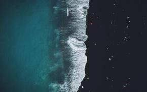 Картинка море, пляж, человек, лёд, вид сверху