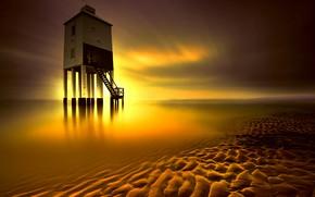 Картинка море, маяк, Англия, отлив, зарево