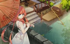Картинка девушка, мост, дождь, лодка, зонт, лестница, канал, косички, рыжая, голубые глаза, белое платье