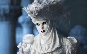 Картинка белый, шляпа, маска, костюм, карнавал