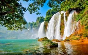 Картинка небо, деревья, горы, природа, водопад, красота, леса, водоем