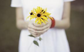 Картинка девушка, цветочки, букетик