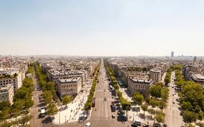 Картинка небо, солнце, деревья, Франция, Париж, дороги, дома, горизонт, улицы