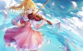 Картинка взгляд, аниме, девушка, скрипка, Shigatsu wa Kimi no Uso