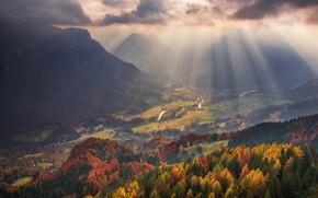 Обои горы, долина, свет, лучи, осень