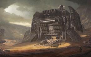 Картинка горы, транспорт, сооружение, Desert Outpost