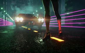 Обои Авто, Ночь, Музыка, Неон, Машина, Свет, Туфли, Фары, Ноги, Electronic, Synthpop, Darkwave, Synth, Retrowave, Синти-поп, ...
