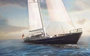 Обои волны, Cabochon, яхта, парусник