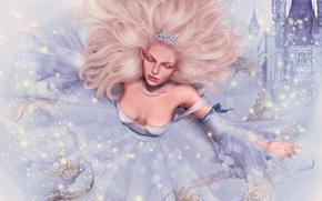 Картинка девушка, лицо, замок, волосы, сказка, платье, принцесса
