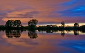 Картинка облака, деревья, озеро, Англия, силуэт, зарево, Дрейкотт