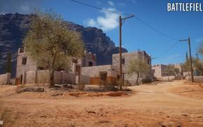 Картинка скалы, дома, поселение, Battlefield 1, Sinai Desert
