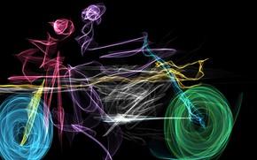 Обои color wheel, rendering, Art, colorful, colors, people, digital art, black background, motorcycle