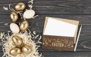 Картинка золото, праздник, яйца, пасха, сено, Письмо, Гнездо
