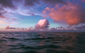 Картинка море, небо, вода, облака, закат