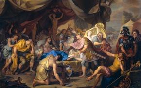 Картинка дерево, масло, картина, история, Смертное Ложе Эпаминонда, Исаак Уолравен