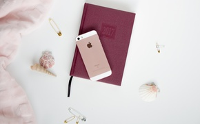 Картинка apple, блокнот, телефон, ракушки, iphone, ежедневник, 2017