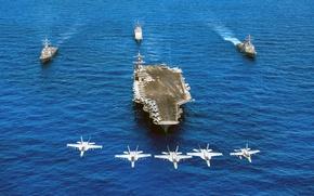 Обои армия, aircraft carrier USS Carl Vinson, FA-18