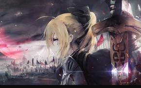 Картинка девушка, аниме, арт, поле боя, saber, сейбер, fate/grand order