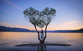 Картинка девушка, озеро, дерево, платье, Home, Lichon