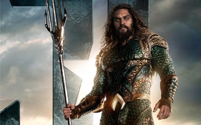 Обои seifuku, film, armor, Arthur Curry, weapon, uniform, Jason Momoa, Aquaman, trident, movie, Justice League, king, ...