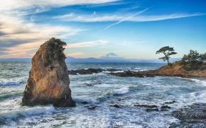 Картинка море, волны, небо, камни, берег