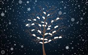 Обои Фон, Минимализм, Снег, Зима, Дерево, Снежинки