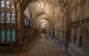 Картинка Англия, коридор, арка, архитектура, неф, Глостерский собор
