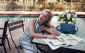 Картинка цветы, поза, актриса, блондинка, газеты, сумка, Kate Bosworth