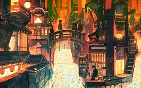 Картинка город, люди, аниме, арт