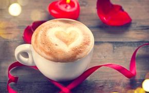 Картинка розы, love, heart, romantic, coffee, roses, valentine`s day