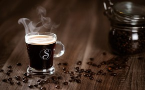 Обои кофе, чашка, кофейные зерна, wood, cup, beans, coffee