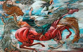 Картинка молодые, казашка, казах, Айбек Бегалин, 2007г, домбра, национальный казахский костюм, Песня