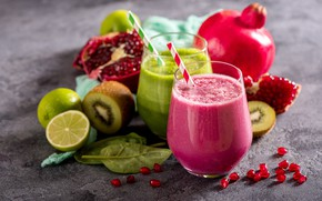 Картинка киви, лайм, напиток, фрукты, витамины, гранат, fruits, vegetables, smoothies, смузи