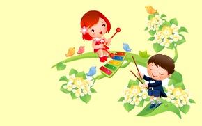 Обои мальчик, весна, музыка, настроение, тепло, птичка, арт, вектор, девочка, цветы